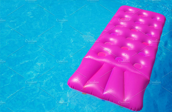 Pink Air Mattress in Swimming Pool Mockup