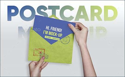 Postcard, Greeting, Invitation with Envelope Mockups