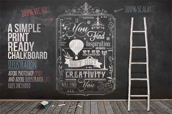 Print Typography Chalkboard Poster