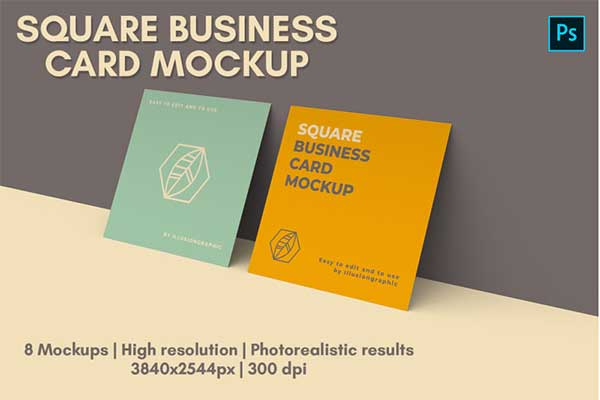 Professional Square Business Card Mock-up
