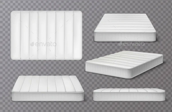 Realistic Mattress Collection Mockup