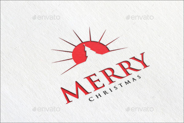Realistic Merry Christmas Logo Template