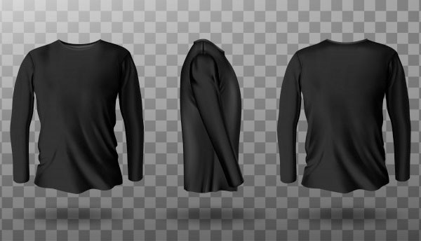Realistic Mockup of Black Long Sleeve T-shirt Free
