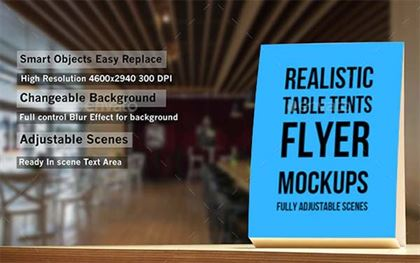 Realistic Table Tents Flyer Mockups