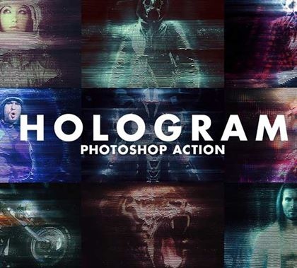 Realistic Hologram Photoshop Action Templates