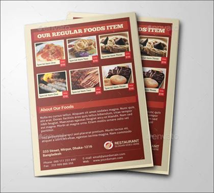 Restaurant Foods Menu Brochure Template