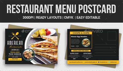 Restaurant Menu Postcard Template