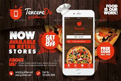 Restaurant Mobile App Postcard Templates