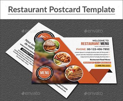 Restaurant Postcard Template Design