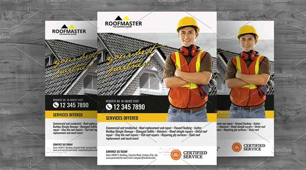 Roofing Solution Flyer Design Template