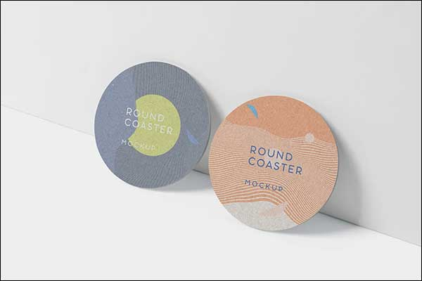 Round Coaster Business Card Mock-Up