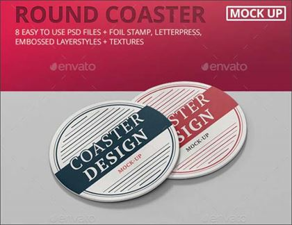 Round Coaster Mock-Up Template