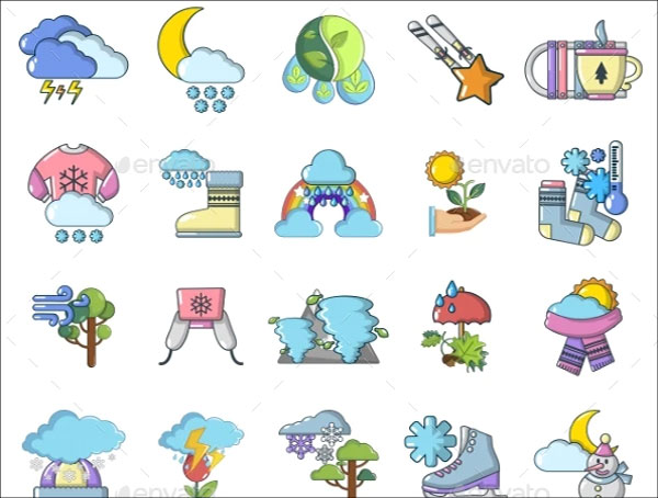 Rural Weather Icons Set Cartoon Style