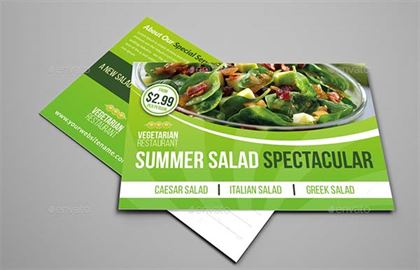 Salad Restaurant Postcard PSD Template