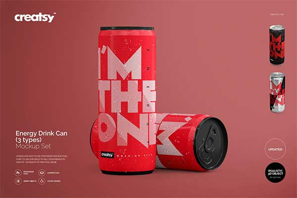Sample Energy Drink Can Mockup Set