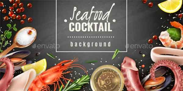 Seafood Cocktail Background Poster Template
