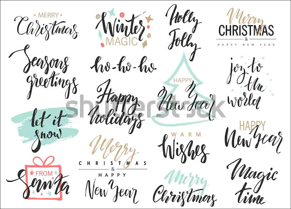 Set of Merry Christmas Logo Designs
