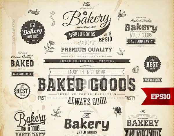 Set of Vintage Bakery Logo Templates