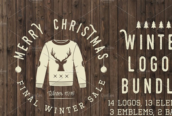 Set of vintage winter Christmas logos