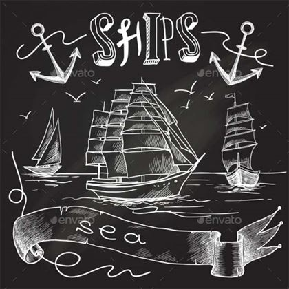 Ship Chalkboard Poster Template