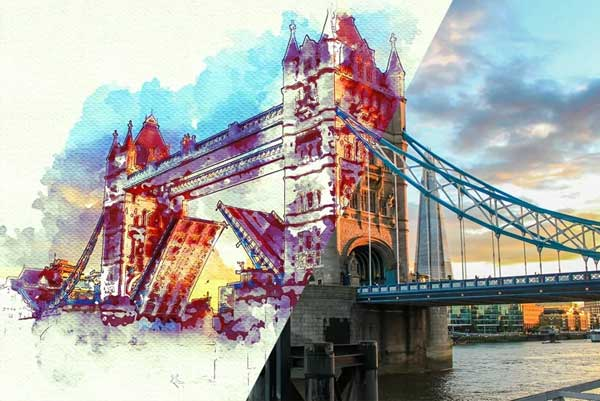 Simple Watercolor Urban Sketcher Photoshop Action