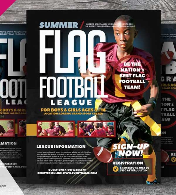 Simple Flag Football Flyer Template
