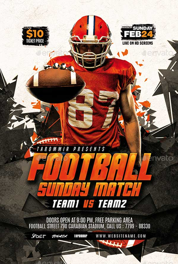 Simple Football Flyer Template