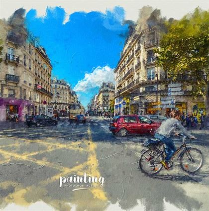 Simple Painting Photoshop Action Templates