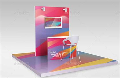 Simple Trade Show Booth PSD Mockup Template