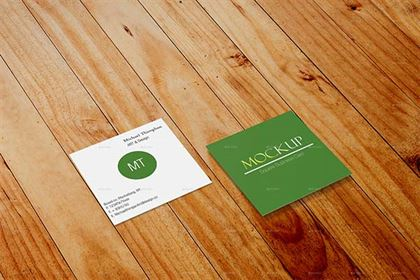 Square Business Card Mock-up Design