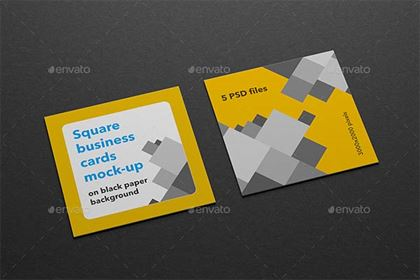 Square Business Cards PSD Mock-up