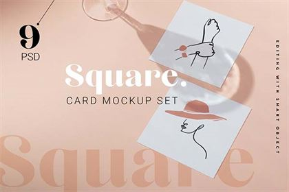Square Card Shadow Mockup Set