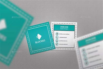Square Circular PSD Business Card Mock Up