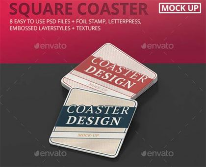 Square Coaster Mock-Up Round Corner Template