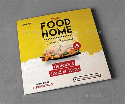 Square Food Menu Trifold Brochure Design