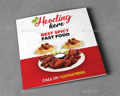 Square Food Menu Trifold Brochure Designs