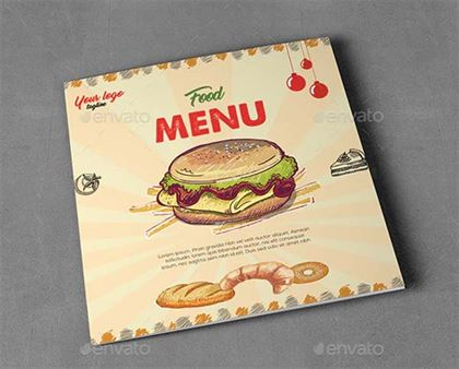 Square Food Menu Trifold Brochure