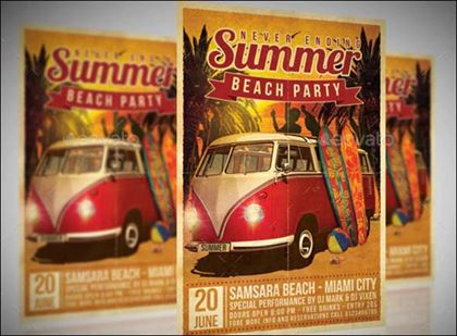 Summer Beach Holiday Party Flyer Template
