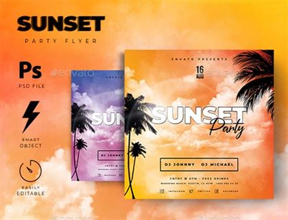 Sunset Summer Party Event Flyer