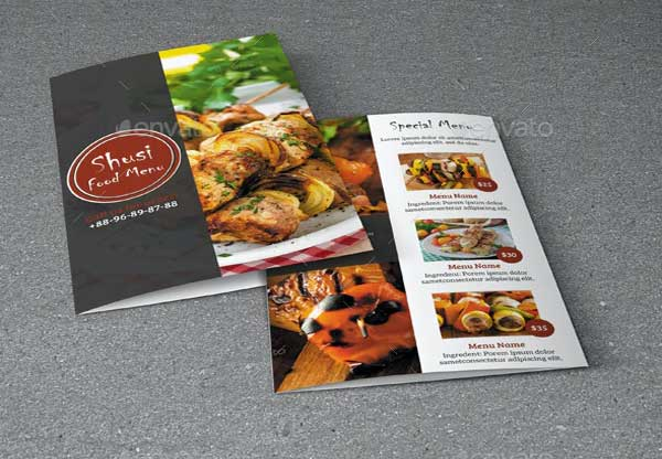 Sushi Food Menu Brochure Template