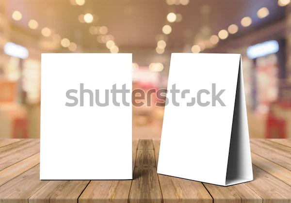 Table Tents Menu Cards Mockup Template