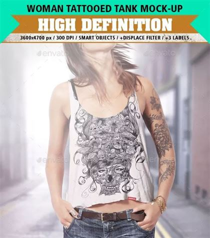 Tank Top Mock-Up Tattooed Woman