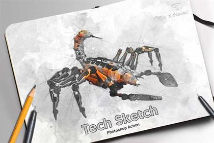Tech Sketch Paper Art Photoshop Action
