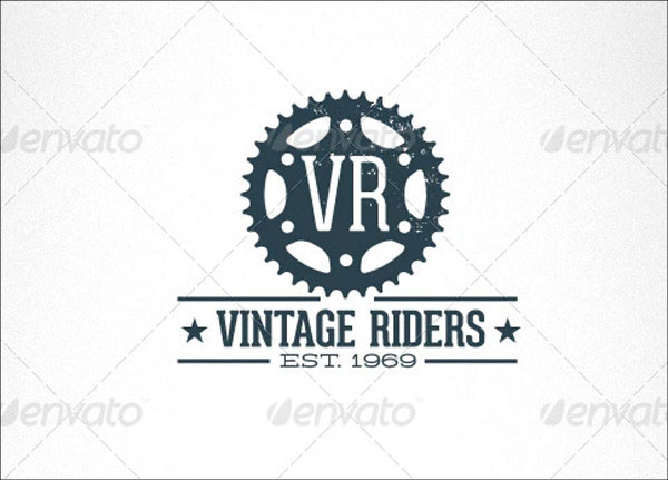 Vintage Riders Bike Gear Retro Logo Template