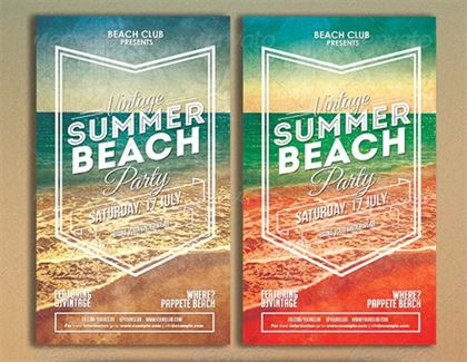 Vintage Summer Beach Party Flyer Template