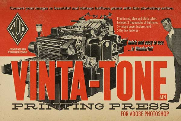 Vintage Tone Printing Press PSD Actions