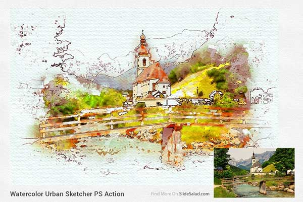 Watercolor Urban Sketcher PS Action