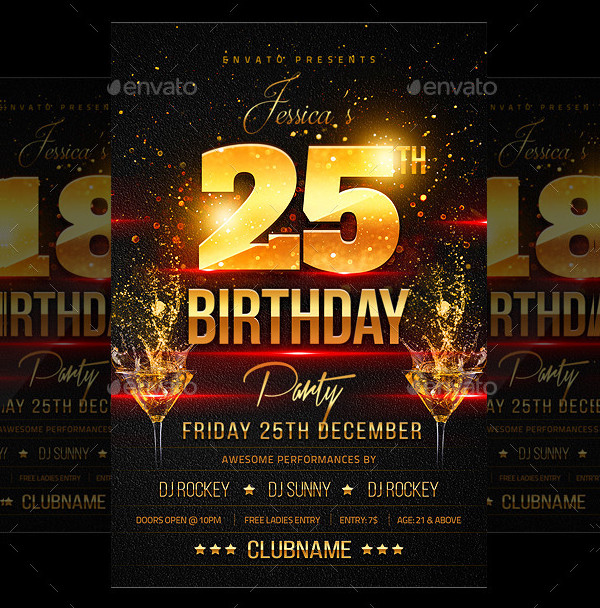 25th Birthday Party Flyer Template