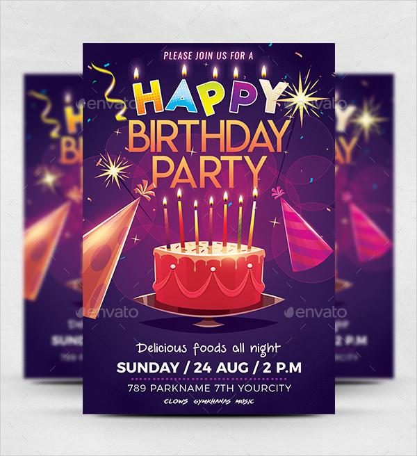 Birthday Party Celebration Flyer Template