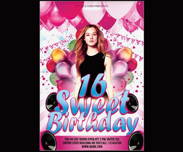Free Sweet 16 Birthday Flyer Template